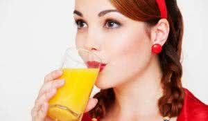bright picture of lovely girl with glass of juice