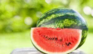 Fresh juicy watermelon against natural green background in spring park