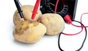 Raw potatoes with power meter