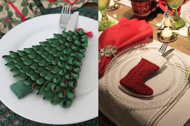 Suporte de talheres com decoração natalina.