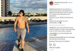 Whindersson Nunes anuncia nova rotina de vida saudável após descoberta de doença