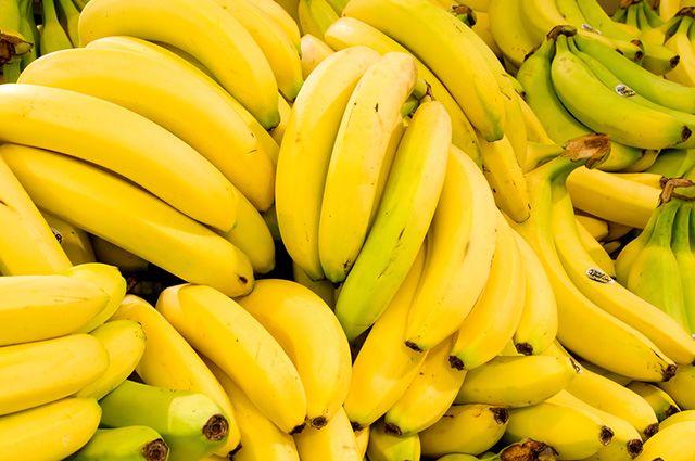 Cachos de bananas amarelas maduras